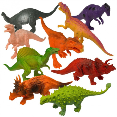 Prextex Realistic Looking 18cm Dinosaurs Pack of 12 Large Plastic Assorted Dinosaur Figures