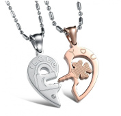 """KATGI Stainless Steel Key To My Heart """"I LOVE YOU"""" Couples Necklaces Set"""