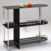 Kings Brand Furniture Bar Table with Two Black Tempered Glass Shelves