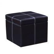 Joveco Bonded Leather Cross Stitch Square Cube Storage Ottoman