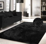 Luxury Viscose Shag Collection Black Shag Area Rug 1.5mx2.1m Hand Tufted