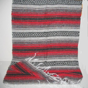Large Red/black Mexican Falsa Blanket Yoga Mat