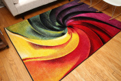 Radiance Art Collection Contemporary Modern Swirl Wool Area Rug, 1.5m0.6m x 2.1m Multicolor