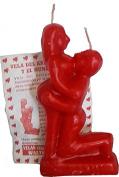 Red 15cm Inch Domination Candle with Man & Woman. Spells and Rituals - Vela de Dominación con Hombre y Mujer para Rituales y Hechizos.