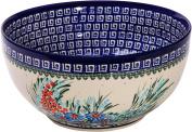 Polish Pottery Ceramika Boleslawiec 0411/169 Royal Blue Patterns with Blue Daisy and Orange Phlox Motif Bowl 23, 10-Cup