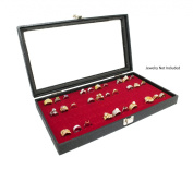 Novel Box® Glass Top Black Jewellery Display Case + Red 72 Slot Ring Display Insert + Custom NB Pouch