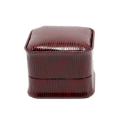 Novel Box® Jewellery Ring Box in Burgundy Leather (Fillmore Collection) + Custom NB Pouch