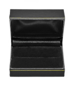 Novel Box® Jewellery Double Ring Box in Black Leather (Carter Collection) + Custom NB Pouch