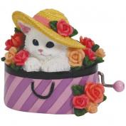 Purple Stripes Hat Box Musical Hand Crank with Cat & Flowers Design