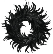 Touch of Nature Cocktail Feather Wreath, 38cm , Black