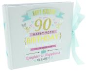 "Decorative Blue and Gold ""Happy 90th Birthday"" 10cm X 15cm Photo Album By Haysom Interiors"