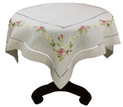 Xia Home Fashions XD67803 Ribbon Embroidery Rose on Natural Linen with Hemstitch Floral Table Topper, 90cm by 90cm
