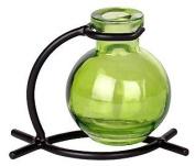 French Decor Green Ball Vase With Black Metal Stand 1/pc ~ G82 Floral vase ~ Bud Vase ~ Flower Vase ~ Decorative Vase ~ Incense Holder
