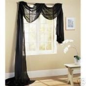 MONAGIF BLACK Scarf Voile Window Panel Solid sheer valance curtains 550cm LONG