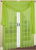 LuxuryDiscounts 2 Piece Solid Lime Green Elegant Sheer Curtains Fully Stitched Panels Window Treatment Drape 140cm X 210cm
