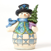Jim Shore for Enesco Heartwood Creek Pint Sized Snowman with Tree Figurine, 13cm