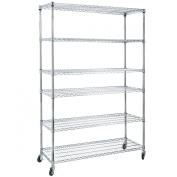 Home-it 6 Shelf Commercial Adjustable Steel shelving systems On wheels wire shelves, shelving unit or garage shelving, storage racks