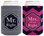 Wedding Coolie Mr and Mrs Right Bridal Shower Bachelorette Party Gag Gift 2 Pack Can Coolie Drink Coolers Coolies Premium Full Colour