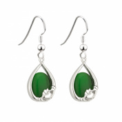 Irish Claddagh Earrings with Green Cats Eye by Solvar