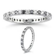 1.05 Cts Black & White Diamond Eternity Ring in 14K White Gold