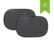 Cling Car Window Shade - 2 Pack Baby Sun Shade for Car Side Window - UPF 30+ Sun Protection - Size 48cm X 32cm - Free Bonus Suction Cups and Bag for Storing Your Sunshades - 90 Days Warranty