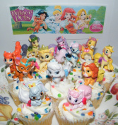 Disney Princess Palace Pets Figure Set of 12 Mini Cake Toppers / Cupcake Party Favour Decorations with Special Princess Temporary Tattoos!