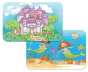 Kid's Castle and Mermaids Reversible Washable Vinyl Placemats Set of Two