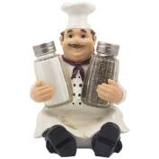 Sitting French Chef Pierre Glass Salt and Pepper Shaker Set with Decorative Display Stand Table Centrepiece Figurine for Country Cottage Decor Spice Racks & Gourmet Kitchen Decorations As Collectible Housewarming Gifts