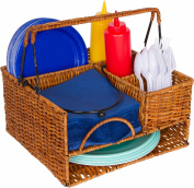 Rattan Tabletop Serveware and Condiment Organiser and Caddy by Trademark Innovations