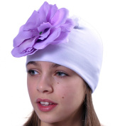 Cotton Jersey Girls Hats Beanies With Big Flower