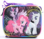 My Little Pony BLACK Insulated Lunch Bag with Side Pocket and Long Shoulder Carrying Strap