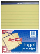 Top Flight Legal Pad, 22cm x 30cm , 1cm Rule, Canary, 50 Sheets per Pad, 3 Pads per Pack