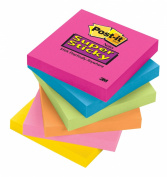 Post-it Super Sticky Notes, 7.6cm x 7.6cm , Assorted Bright Colours, 1-Pad/Pack