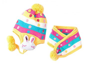 Lovely Rabbit Cold Weather Knitting Scarf & Hat Accessory For Baby/Yellow