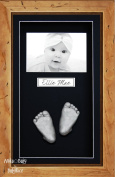BabyRice 3D Baby Casting Kit Silver Paint with Rustic Display Photo Frame