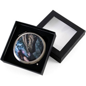 Woman Stroking a Dragons Head Round Compact Mirror