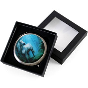 White Unicorn in a Forest Glade Round Compact Mirror