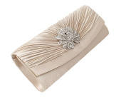 Peyviva PU Grid Dot Clutches Evening Bags for Women Wedding Party White
