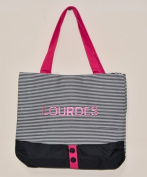 Lourdes Shopping Bag with Strippes and Buttons in Black and Red