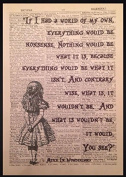 Alice in Wonderland Quote Print Vintage Dictionary Picture Wall Art Nonsense