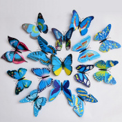 Cy-buity 6Pcs Multicolour 3D Butterfly Wall Stickers Wall Decors Art Wall Decorations Blue