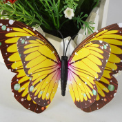 Cy-buity 4Pcs 3D Butterfly Double-Deck Wall Stickers Art Wall Decal Mural Décor Yellow