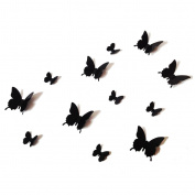 12PCS 3D Black Butterfly Wall Stickers Art Decal PVC Butterflies Home DIY Decor
