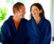 Love2Sleep MAN & WOMAN UNISEX 100 % COTTON BATHROBE DRESSING GOWN BATH ROBE - MEDIUM NAVY