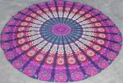 Fairdecor Round Mandala Beach Throw Roundie Yoga Mat Cotton Tablecloth Beach Towel