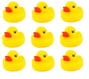 9 Mini Rubber Squeaky Yellow Ducks Bath Water Toys Kids Cute Play Childrens Party Bag Fillers