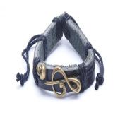 X & Y ANGEL Jewellery Mens Womens Skull Leather Bracelet, Brown Silver
