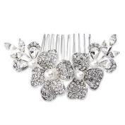 Ecloud Shop® Flowers Silver Plated Pearl Rhinestone Crystal Wedding Hair Comb Pin