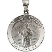 14kt White 22.25mm Hollow Round St. Jude Medal
