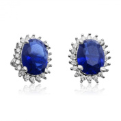 Velini, ladies stud earrings P3045, 925 sterling silver, micro pave setting AAA cubic zirconia stones and sapphire coloured glass stone, shines like diamonds